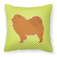 Chow Chow Checkerboard Green Fabric Decorative Pillow BB3851PW1818