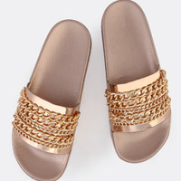 Metallic Chain Link Slides ROSE GOLD | MakeMeChic.COM