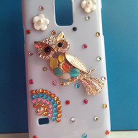 3D Fashion Bling Elegant Luxury Diamond Rhinestone Colorful Owl with Flowers Design White Hard Cover Case for Samsung Galaxy SV S5