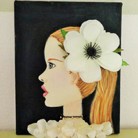 Mixed Media Flower Girl Wall Art. Blonde Hair Blue Eyes Original Painting. Acrylic and Pastels on Canvas