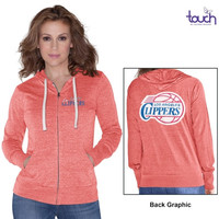 Los Angeles Clippers Touch by Alyssa Milano Women's Free Agent Tri-Blend Full Zip Hoodie – Red