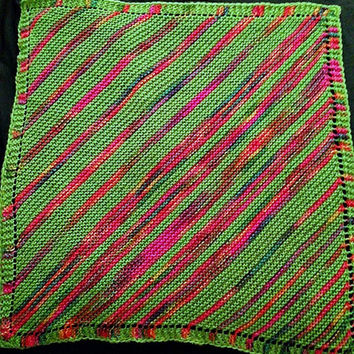 Dog Blanket, Pet Bedding, Knit Pet Blanket, Baby Blanket, Diagonal Stripe Bedding, Striped Blanket, Green Blanket, Rainbow Stripe