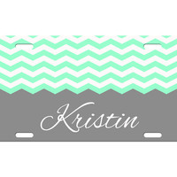 Custom Personalized License Plate Car Tag Preppy Chevron Name Monogram Sorority 16th Birthday Girls Gift Aluminum Front Car Plate LP-1009