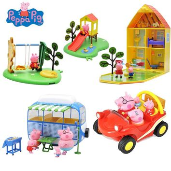 Original Peppa Pig George Pig Action Figures Toy Peppa Pig George Friends Soft Head Doll Field Dining Car Scene Kids Toy Gift