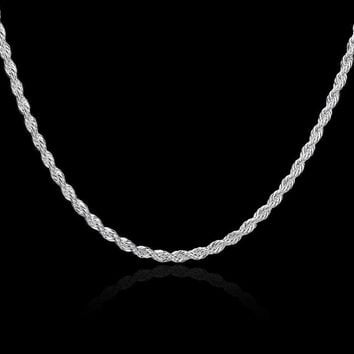Sterling Silver Necklace Diamond-Cut Rope Chain 2mm 925 Sterling Silver Rope