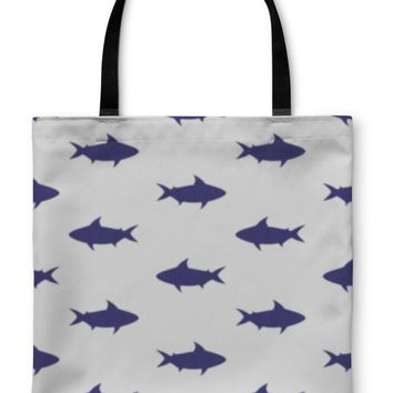 Tote Bag, Pattern With Sharks