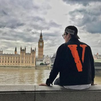 Original VLONE JAIL JACKET 555555 ASAP Europe and the United States tide brand big V embroidery men and women jackets couple sim