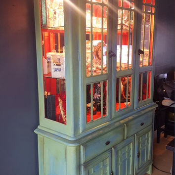 Upcycled Vintage China Hutch; one of a kind China hutch green and blue ext., striking red interior