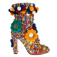 Dolce & Gabbana Red Leather Crystal Sequined Crystal Boots