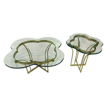 Pre-owned Vintage Brass & Glass Coffee and End Table