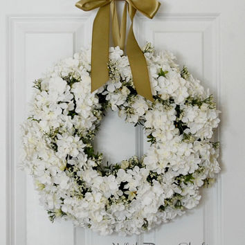 White Blossom Wreath, Front Door Wreath, Spring Wreath, Summer Wreath, Hydrangea Wreath, Wedding, Indoor Wreath