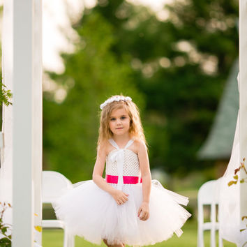 Beautiful white with hot pink accent flower girl tutu dress- birthday dress- can be made in any color combo - size 6 months to 5t