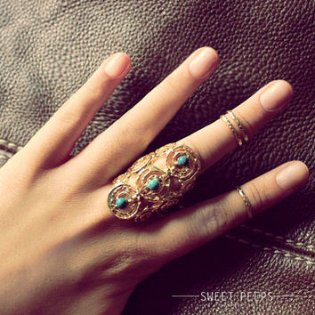 Gold Stone Ring, Hipster Ring, Cool Ring, Turquoise Jewelry, Simple Turquoise Ring