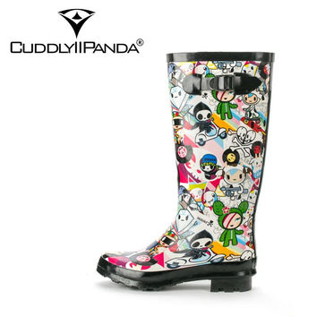 2017 New Arrival Cartoon Print Waterproof Rain boots Women Knee High Boots Buckle Strap Funny Botas Feminina Zapatos Mujer