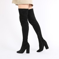 Eve Round Heel Long Boots in Navy Velvet