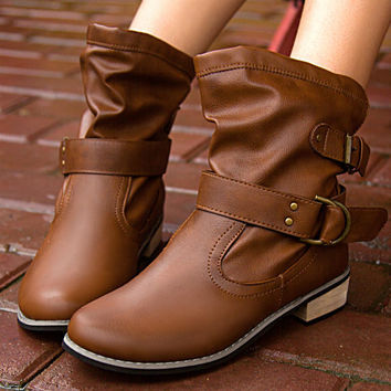 Hot Deal On Sale Winter England Style Round-toe With Heel Casual Korean Boots [7993610945]