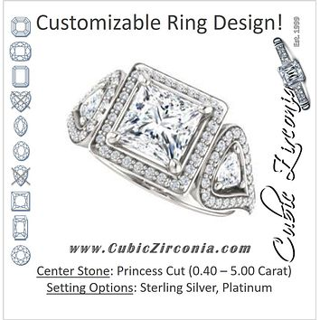 Cubic Zirconia Engagement Ring- The Cordelia (Customizable Cathedral-set Princess Cut Design with 2 Trillion Cut Accents, Halo and Split-Pavé Band)