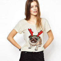 Cream Pug Christmas Elk Printed Short Sleeve T-Shirt