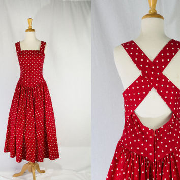 Vintage 1980's Red and White Polka-dot Sun Dress Kamisato Full Skirt