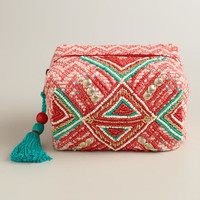 Red Beaded Tribal Pouch
