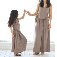New Women Mother Daughter Matching Loose Dresses Girl Maxi Dress Clothes Outfit LE4 SM6