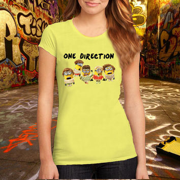 One Direction Minions T Shirt, Music T Shirt, Cartoon T Shirt Printed T Shirt, Women T Shirt, (Various Color Available)