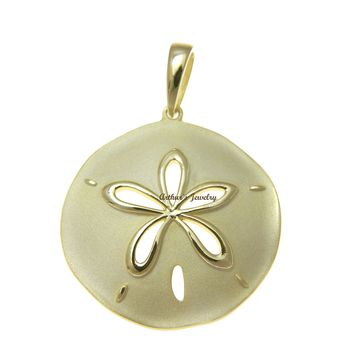 YELLOW GOLD PLATED 925 STERLING SILVER HAWAIIAN SAND DOLLAR PENDANT 29.50MM