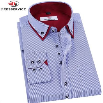 DRESSERVICE  Brand Men's Long-sleeved Striped Shirt  Men Clothing Double Collar Casual Male Business Casual Formal Shirt