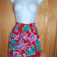 Vintage 80s Tangibles High Waisted Red Floral Tropical Hawaiian Print Long Baggy Walking Shorts Size Medium