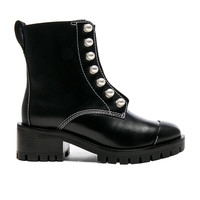 3.1 phillip lim Lug Sole Zipper Leather Boots with Pearls in Black | FWRD