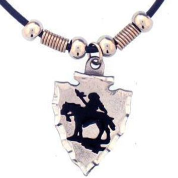 Sports Accessories - Indian Chief on Arrowhead Adjustable Cord Necklace