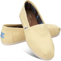TOMS Yellow Canvas Women's Classics Slip-On Shoes,