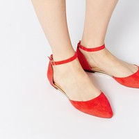 Oasis Two Part Red Flat Shoes