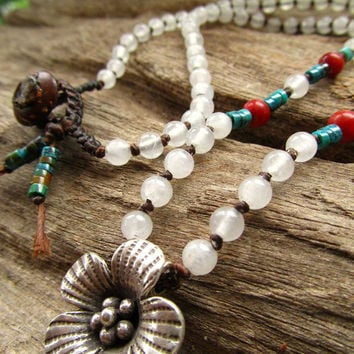 Karen Hill Tribe Silver Flower ~ Real Turquoise ~ Red Coral ~ White Quartz Necklace Positive Energy Healing