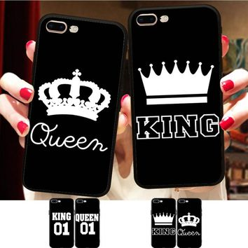 Minason BFF King Queen Couple Cover For iPhone X 8 5 XR XS Max 6 6S 7 Plus Case Best Friends Soft Silicone Phone Fundas Capinha