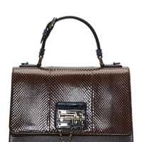 Dolce And Gabbana Cocoa And Cobalt Ayers Leather Medium Monica Bag