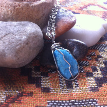 Silver Wire Wrapped Blue Apatite Healing Crystal Necklace - Crystal Necklace - Healing Jewelry - Rough Mineral Pendant - #141