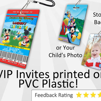 Mickey Mouse Invitation PLASTIC Mickey Mouse Birthday, Mickey Mouse Birthday Invitation, Birthday Invite, VIP Pass PVC Pack