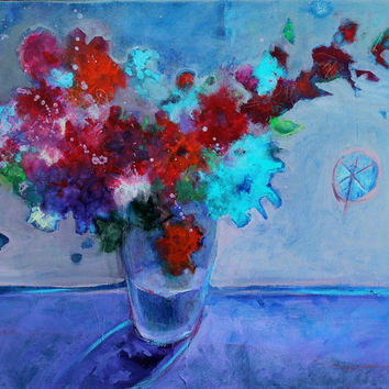 "Acrylic Painting Colorful Floral Still Life ""Sabrina's Summer Bouquet"""