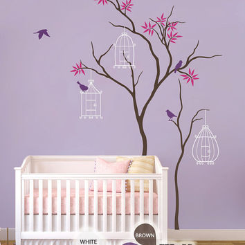 "Baby Nursery Wall Decals - Tree Wall Decal - Birdhouse Decal - Large: approx 86"" x 51"" - KC011"