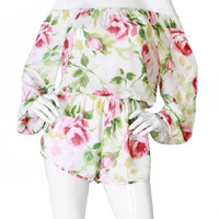 Bed Of Roses Off the Shoulder Romper - White + Multi