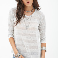 FOREVER 21 Striped Open-Knit Top