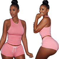 Pure Color Backless Crop Top with Skinny Shorts Two Pieces Set