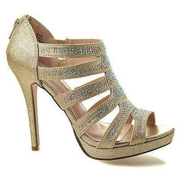 Marna7 Gold Sparkle By Blossom, Peep Toe Dress Rhinestone Studded Multi Band Stiletto Heel Sandals