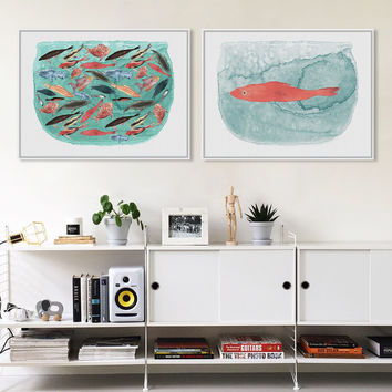 Watercolor Sea Fish Tank Art Prints Poster Cartoon Animal Living Room Wall Picture Canvas Painting No Framed Kitchen Home Decor