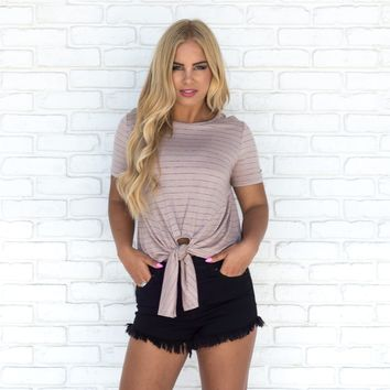 Relax with Me Stripe Front Tie Mocha Top