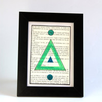 Geometric tribal OOAK sigil painting on 4x6 inch recycled paper - Triangle gate