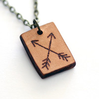 Tribal Leather Pendant, Arrows necklace, Boho pendant, Nature Pyrography Jewellery, Bow and arrow hunter burned leather barker wild