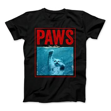 PAWS Funny Cat Kitten T-Shirt For Shark And Cat Lovers