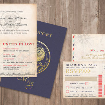 Passport Wedding Invitation, Destination Invitation Set, Two Sided, Front and Back - PRINTABLE- Digital Files